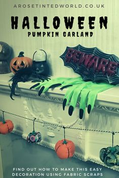 Make your own Halloween Pumpkin garland decoration using up all the fabric scraps in your scrap bag. Zero waste way- use waste fabric and up cycling old cloth to make other things Halloween Pumpkins, Halloween Crafts, Halloween Decorations, Diy For Kids, Crafts For Kids, Garland Decoration, Make Your Own, Make It Yourself, Diy Crafts How To Make