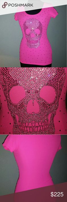 """JOHN RICHMOND SWAROVSKI SKULL TOP NWOT,  This is hot ! , bright pink t shirt style top with SWAROVSKI crystals, perfect stretch,  it's made out of 92% polyamide viscon / 8% elasthan, 24"""" length x 14"""" chest, MUST HAVE ! never worn, non-smoker JOHN RICHMOND  Tops Tees - Short Sleeve"""
