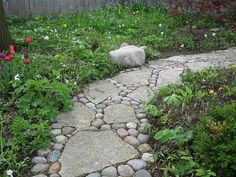 Rocks and broken concrete mix on path