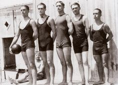 """The pioneers Water Polo team of """"Panellinios Gymnasticos Syllogos"""" in 1912. This early picture, that belongs to the Sports Museum of Athens Municipality, records probably the 1st ever Greek Water Polo team. Greece was present for the 1st time at the Olympics of Antwerp 1920 and then at Paris 1924. The Greek Swimming Federation has been established in 1927 and the 1st official National competition was held in 1928."""