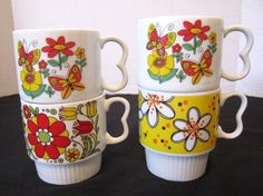 4 Vintgage Mod Flowers Coffee Cups Butterfly Heart Handle Stacking Tea Mugs  #Unbranded