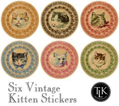 Vintage-Kitten-Stickers for Jeanne Vintage Cat, Vintage Labels, Vintage Images, Collages, Free Printable Tags, Cat Birthday, Cat Crafts, Cat Stickers, Paper Cards