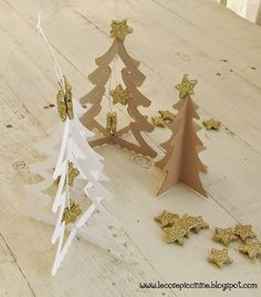 Little paper trees with glitter stars