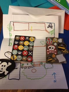 Maps, pirate stickers and eye patches for our car trip