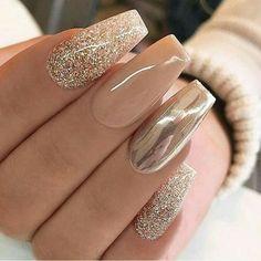 Gold Nail Designs, Fall Nail Art Designs, Acrylic Nail Designs, Nails Design, Rose Gold Nail Design, Unique Nail Designs, New Years Nail Designs, Rose Gold Nails, Nude Nails