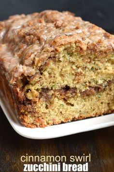 Delicious Cinnamon Swirl Zucchini Bread recipe tastes like a coffee cake with a cinnamon glaze. Make two freezable loaves!
