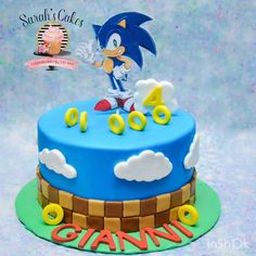 Sonic Birthday Cake, Birthday Cake Video, Avengers Birthday Cakes, Sonic Birthday Parties, Sonic Party, 4th Birthday Cakes, Thomas Birthday Cakes, Birthday Cake Kids Boys, Bolo Sonic