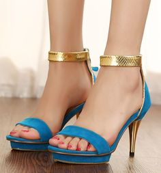 ENMAYER  Black Blue 2014 Free shipping Brand new Hot Sexy high heels sandals women Party wedding shoes $61.96