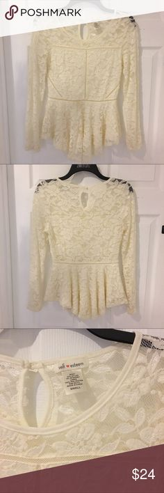 Gorgeous stretch lace , long sleeve peplum blouse So elegant and perfect for travel. Ivory / off white. Wrinkle free and partially lined where it counts! Wear it with black for the evening and your out on the town! Tops Blouses
