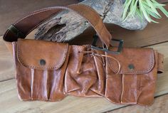 Genuine Antique Vintage Strong Leather Utility Waist Three Pocket Belt Bag Unisex Festival Money Equestrian Re-enactment Bohemian Steampunk by DoubleEweBee on Etsy