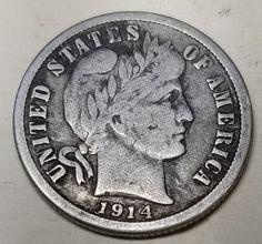 1914-S 10C Barber Dime-Fine-FREE USA Shipping-90% Silver
