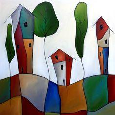 "'Settling Down' by Tom Fedro | $1500 | 36""W x 36""H x 1.5""D | Original Art | http://vng.io/l/6tqyLRU00q @VangoArt"