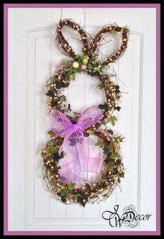 Bunny Wreath - Easter Wreath - Door Wreath - Wreaths - Spring Wreath - Grapevine Wreath. $69.00, via Etsy.