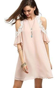aa73c74132 MakeMeChic Women s Cold Shoulder Casual Chiffon Summer Beach Dress Casual  Summer Dresses