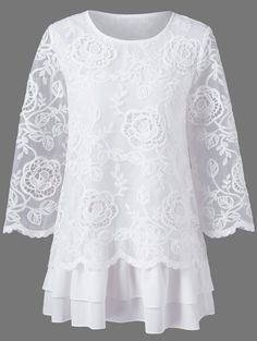 $18.84 Floral Lace Layered Longline Blouse - White