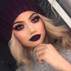 dark makeup looks 10 Dark Lipstick Colors To Try This Winter (dark lipstick colors) Glam Makeup, Skin Makeup, Beauty Makeup, Hair Beauty, Purple Makeup, Makeup Cosmetics, Pupa Cosmetics, Makeup Brushes, Burgundy Makeup Look