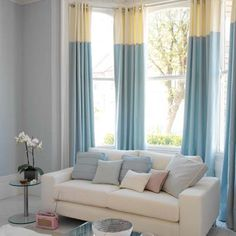 two tone curtains - love the colours