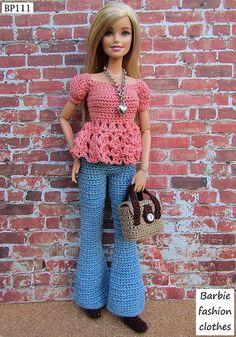 Crochet Baby Costumes, Crochet Doll Dress, Crochet Barbie Clothes, Doll Clothes Barbie, Barbie Dress, Barbie Knitting Patterns, Barbie Clothes Patterns, Clothing Patterns, Paper Dolls Clothing
