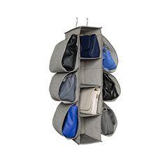 Richards Homewares Hanging Handbag Organizer-Canvas/Gray ...