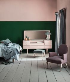 55 ideas for dusty pink feature wall bedroom Dusty Pink Bedroom, Pink Bedroom Walls, Bedroom Paint Colors, Bedroom Green, Bedroom Decor, Pink Bedrooms, Pastel Bedroom, Wall Decor, Pink Feature Wall