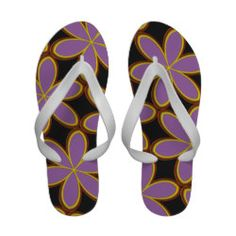 Funky Abstract Purple Floral Retro Flip-Flops