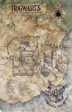 Hogwarts map from the wonderful wizard world of Harry Potter! @lizbethmayberry @oakandoats
