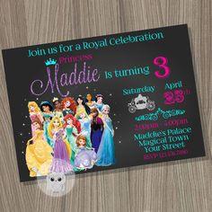Disney Princess Invitation Princess Birthday by CutePixels on Etsy