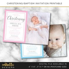 This listing is for a baptism christening invitation printable card. Digital File, PDF, DIY, baby thank you card, Boy Thank you card, Girl Thank you card, 4 x 6, 5 x 7, A6 invite card, digital invitation,printable, Christening invitation, Baptism invitation, Naming day invitation, Digital File, PDF, DIY, 4 x 6, 5 x 7, baptism card, christening card, pdf  --DETAILS--  This listing is for a 4 x 6 inch, 5 x 7 inch or A6 (postcard size) digital invitation customized with your message. Please…