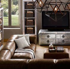 Restoration Hardware leather sectional Fulham sofa. -- Den