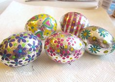 How to make foil covered Easter eggs.  Great idea!