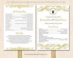 Printable Wedding program fan template by PrintableWeddingDIY, $9.00