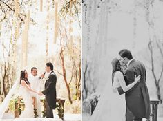 hanging flower strands ceremony  http://greenweddingshoes.com/mexico-wedding-in-the-woods-sara-max/#
