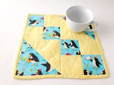 Penguin Mini Quilt Blue Table Mat Yellow Table Mat by 2Fun4Words