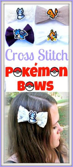 Learn how to create your own cute cross stitched Pokemon Bows!