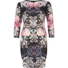 Grey mirrored floral print bodycon dress - bodycon dresses - dresses - women
