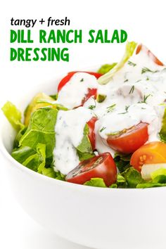 This flavorful and tangy Dill Ranch Dressing is made with just a few simple ingredients including plain yogurt, fresh dill, and lemon juice. Ready in just 10 minutes, it's the perfect complement to any salad or dip for veggies. Ranch Salad Dressing, Salad Dressing Recipes, Salad Recipes, Salad Dressings, Healthy Recipes, Easy Recipes, Quick Easy Meals, Easy Dinners, Fresh Dill