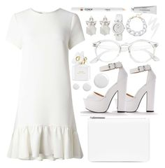 """""""White Out!"""" by hola-hi ❤ liked on Polyvore featuring Miss Selfridge, Maison Margiela, Marc Jacobs, Topshop, Urban Decay, Versace, Byredo, Kenneth Jay Lane, white and dress"""