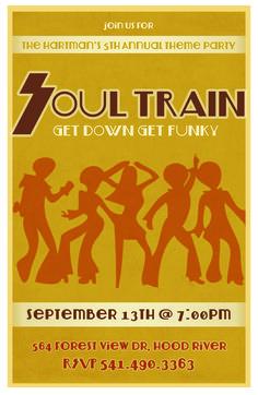 Soul Train party invitation - design by Moxy International
