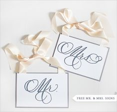 free Mr. and Mrs. printable signs