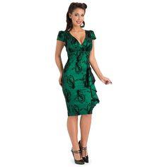 Green Voodoo Vixen Candy Ann Vintage Retro Peacock Taffeta pencil dress http://cashbackmall.co.uk