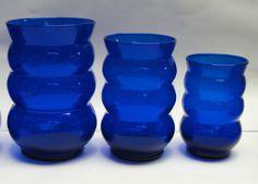 Lot of 16 - LOUIE GLASS - HARPO Pattern COBALT BLUE - TUMBLERS