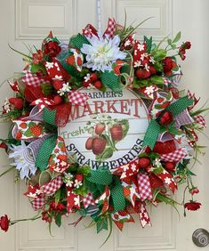 Spring Wreaths- Summer Wreaths- Front Door Wreaths- Deco Mesh Wreaths- Strawberry Wreath You are in the right place about DIY Wreath ideas Here we offer you the most beautiful pictures about the DIY W Christmas Mesh Wreaths, Spring Door Wreaths, Deco Mesh Wreaths, Summer Wreath, Wreaths For Front Door, Winter Wreaths, Burlap Wreaths, Yarn Wreaths, Floral Wreaths