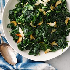Wilted Spinach with Crispy Garlic Chips - FamilyCircle.com