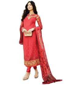 Naksh - NAKSH CREATION WOMENS RED GEORGETTE STARIGHT CUT SALWAR SUIT