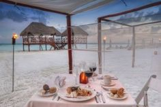 Romantic dinner on the beach at Adults-Only El Dorado Maroma #allinclusive resort in  Mayan Riviera, Mexico