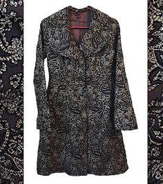 Painted Paisley Jacket womens dress coat blazer black gold metallic vintage waist ruffled lapel v-neck 80s 90s belle textured regal sale rad by VELVETMETALVINTAGE on Etsy