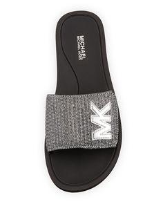 73e554aa2380 Michael Michael Kors MK Glitter Chain Slide Sandal Michael Kors Slides