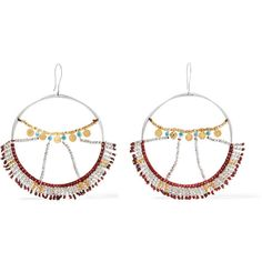 SCOSHA Wonderland silver, gold-plated and turquoise hoop earrings ($480) ❤ liked on Polyvore featuring jewelry, earrings, silver, red earrings, silver jewellery, silver hoop earrings, beaded earrings and silver jewelry