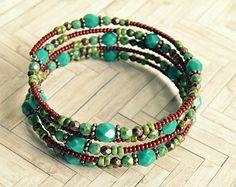 tristan turquoise and copper beaded memory wire bracelet, bohemian, wrap bracelet,copper