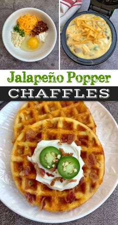 Looking for fun and easy savory chaffle recipes? These Crispy Jalapeño Popper Chaffles are out-of-this-world delicious! They're made with just almond flour, cream cheese, an egg, cheddar, diced jalapeños and crumbled bacon. Lunch Recipes, Low Carb Recipes, Cooking Recipes, Healthy Recipes, Low Carb Lunch, Low Carb Diet, Keto Diet Breakfast, Breakfast Recipes, Breakfast Ideas